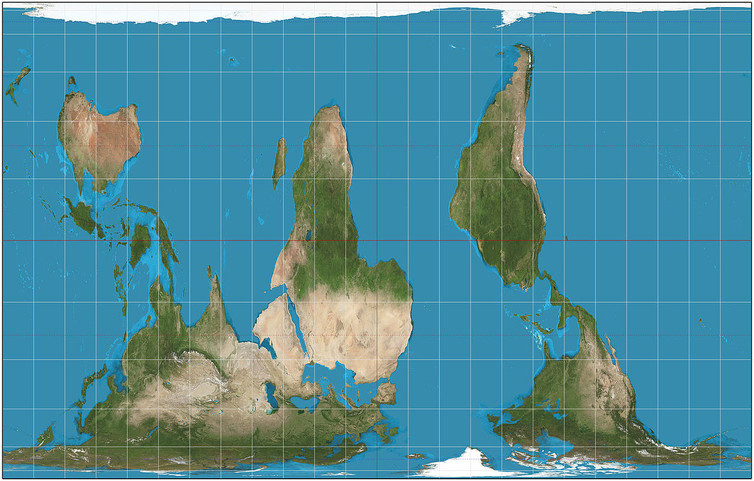 South-up Peters projection. - Image Credit: Daniel R. Strebe,  CC BY-SA