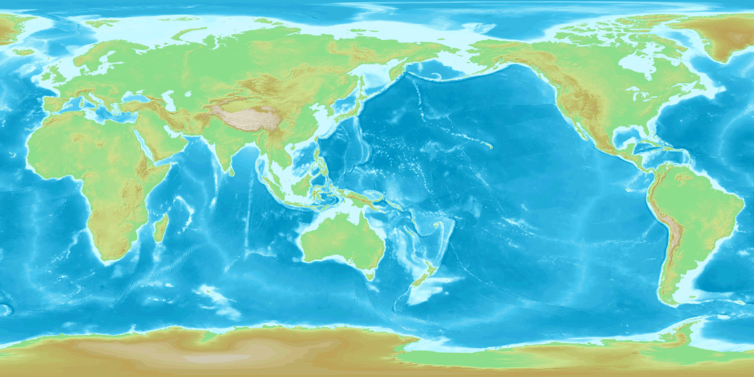 Pacific-centred map. - Image Credit:  DEMIS Mapserver/Wikimedia
