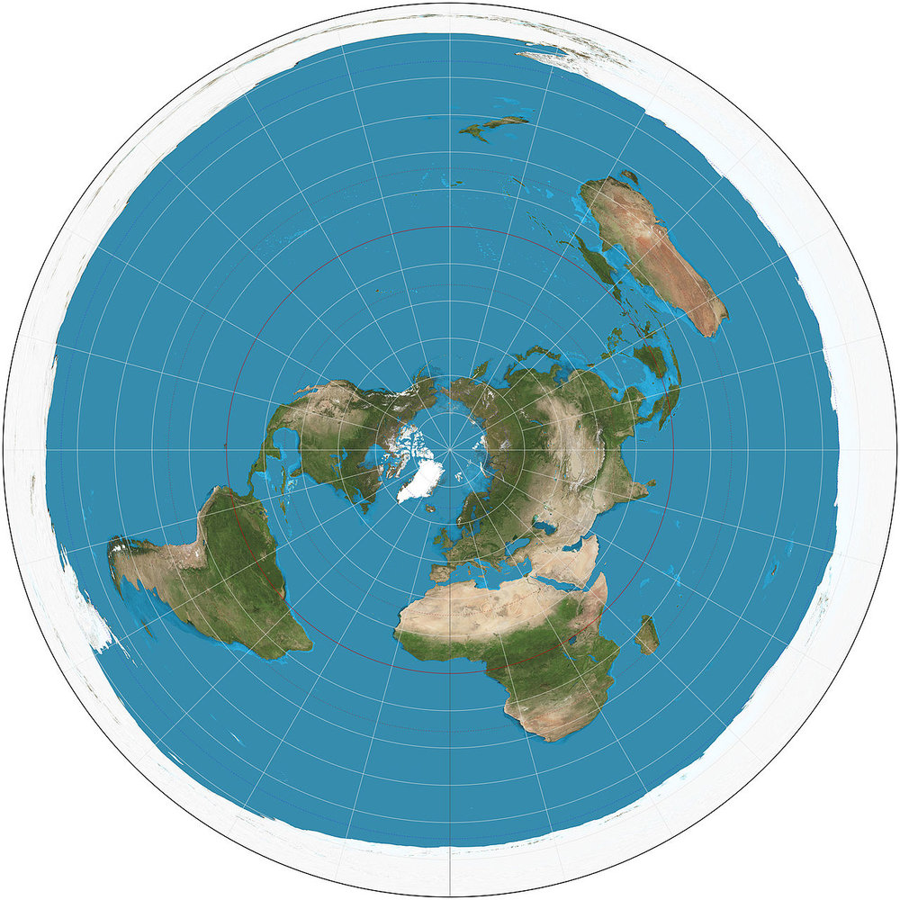Azimuthal equidistant projection. - Image Credit:  Daniel R. Strebe ,  CC BY-SA