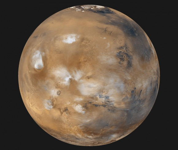 Mars, as photographed with the Mars Global Surveyor, is identified with the Roman god of war. - Image Credit: NASA