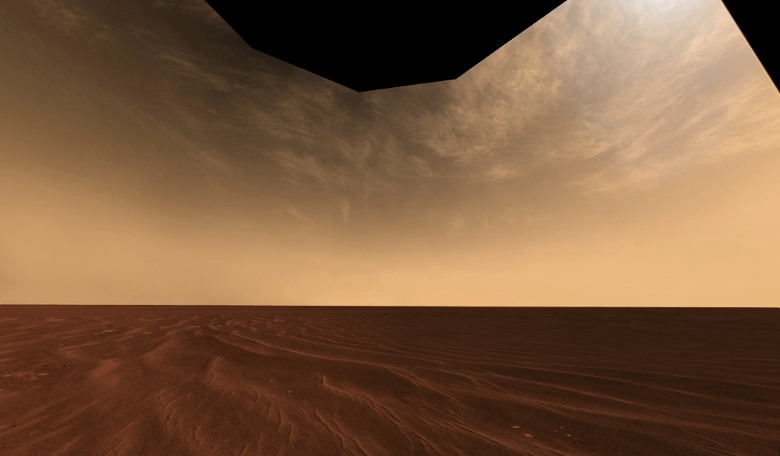 Panoramic image showing cirrus clouds in the Martian atmosphere, taken by the Opportunity rover in 2006. - Image Credit: NASA/JPL/Cornell/M. Howard, T. Öner, D, Bouic & M. Di Lorenzo