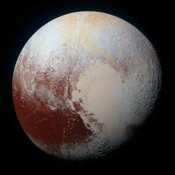 NASA's New Horizons spacecraft captured this high-resolution enhanced color view of Pluto on July 14, 2015. - Image Credit: NASA/JHUAPL/SwRI
