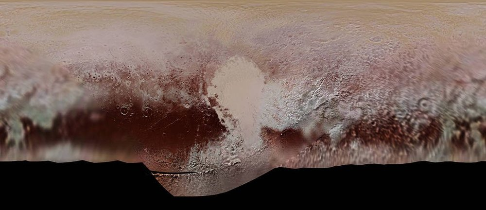 Color mosaic map of Pluto's surface, created from the New Horizons many photographs. - Image Credit: NASA/JHUAPL/SwRI