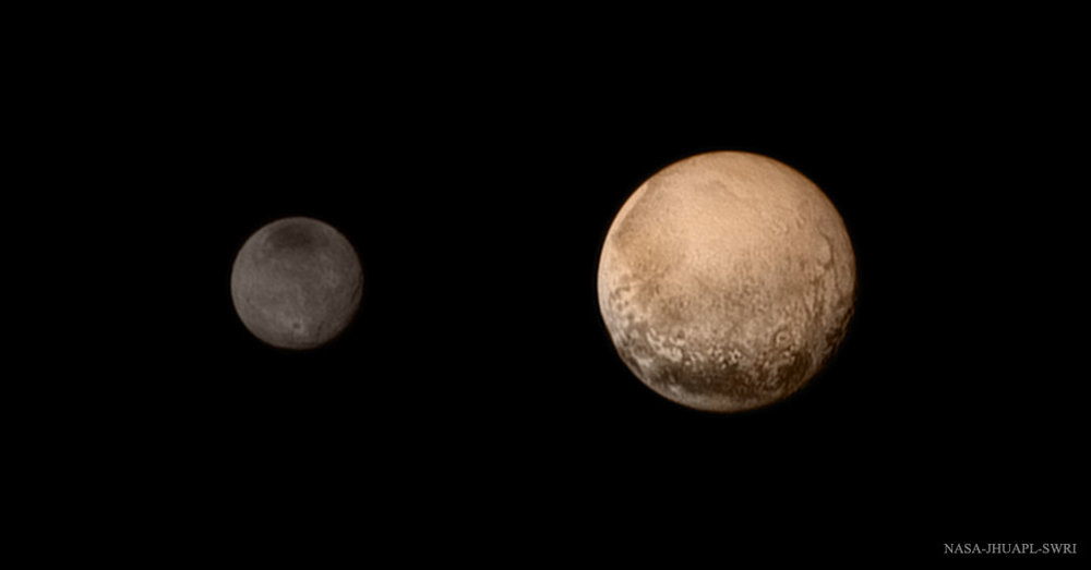 A portrait from the final approach of the New Horizons spacecraft to the Pluto system on July 11th, 2015. Pluto and Charon display striking color and brightness contrast in this composite image. Credit: NASA-JHUAPL-SWRI.