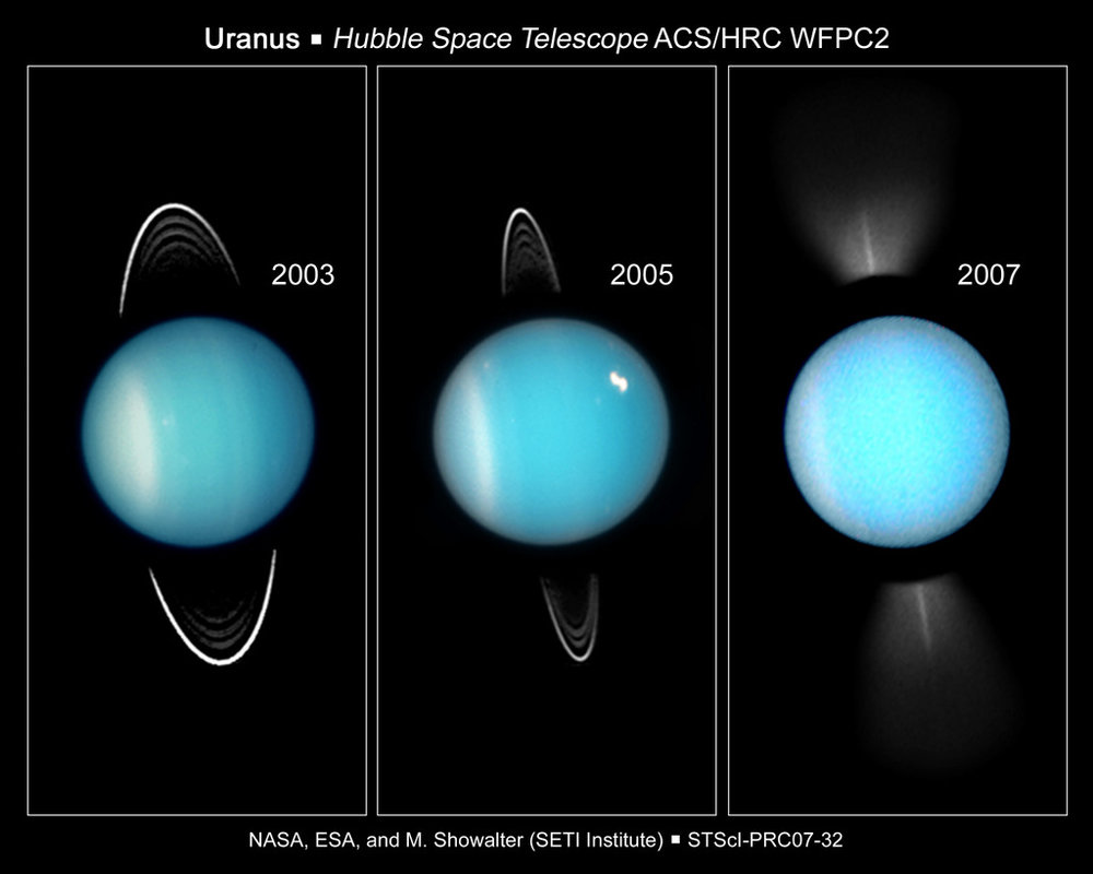 Images of Uranus taken over a four year period using the Hubble Space Telescope. - Image Credit: NASA/ESA/HST