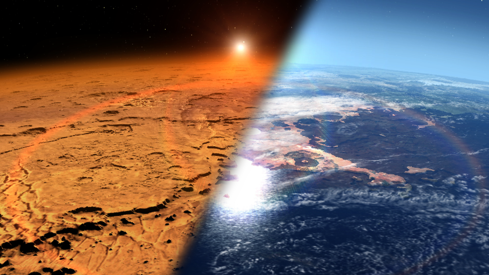 This artist's concept depicts the early Martian environment (right) – believed to contain liquid water and a thicker atmosphere – versus the cold, dry environment seen at Mars today (left). NASA's Mars Atmosphere and Volatile Evolution is in orbit of the Red Planet to study its upper atmosphere, ionosphere and interactions with the sun and solar wind. - Image Credits: NASA's Goddard Space Flight Center