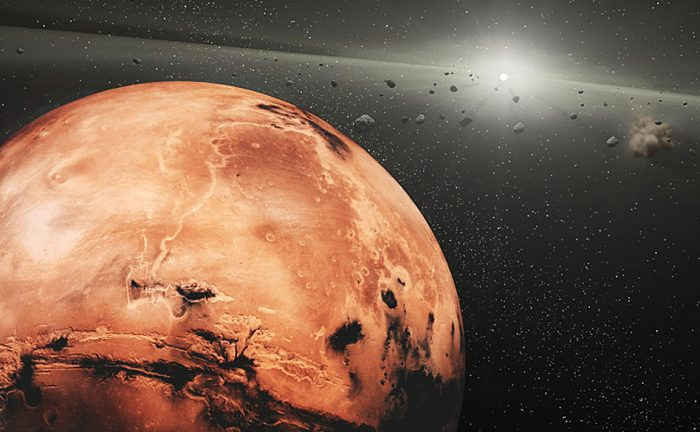 A new study points towards Mars' L5 Trojan asteroids having a common origin. - Image Credit: NASA