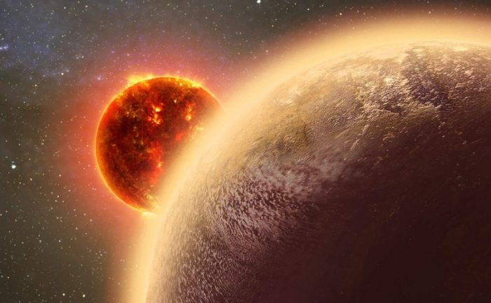 Artist's impression of a Venus-like exoplanet orbiting close to its host star. - Image Credit: CfA/Dana Berry