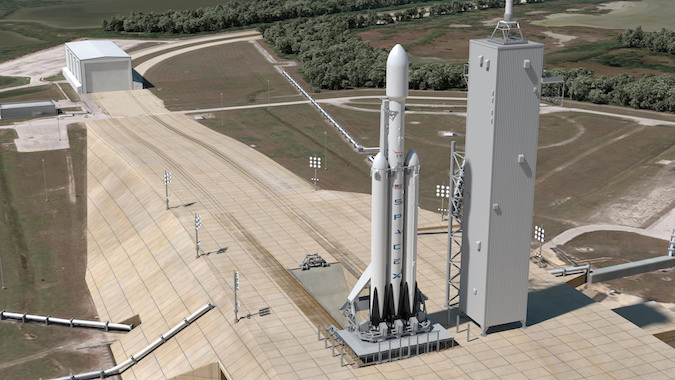 An artist's illustration of the Falcon Heavy rocket. Image Credit: SpaceX