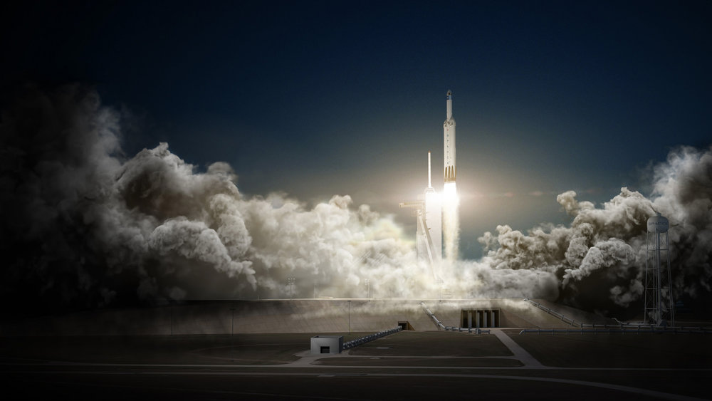 Artist's concept of the SpaceX Red Dragon spacecraft launching to Mars on SpaceX Falcon Heavy as soon as 2018. - Image Credit: SpaceX