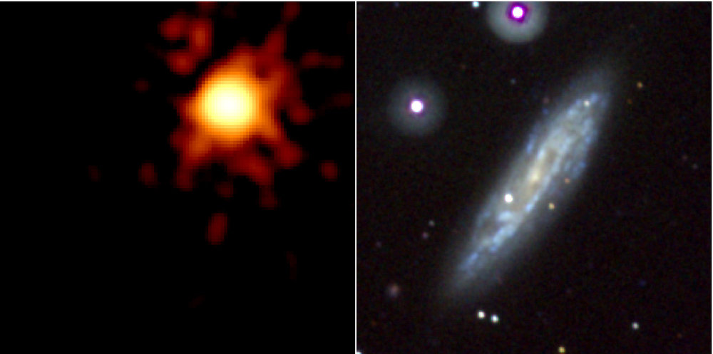 Supernova 2008D in galaxy NGC 2770 (Type Ib), shown in X-ray (left) and visible light (right). - Image Credit: NASA/Swift Science Team/Stefan Immler