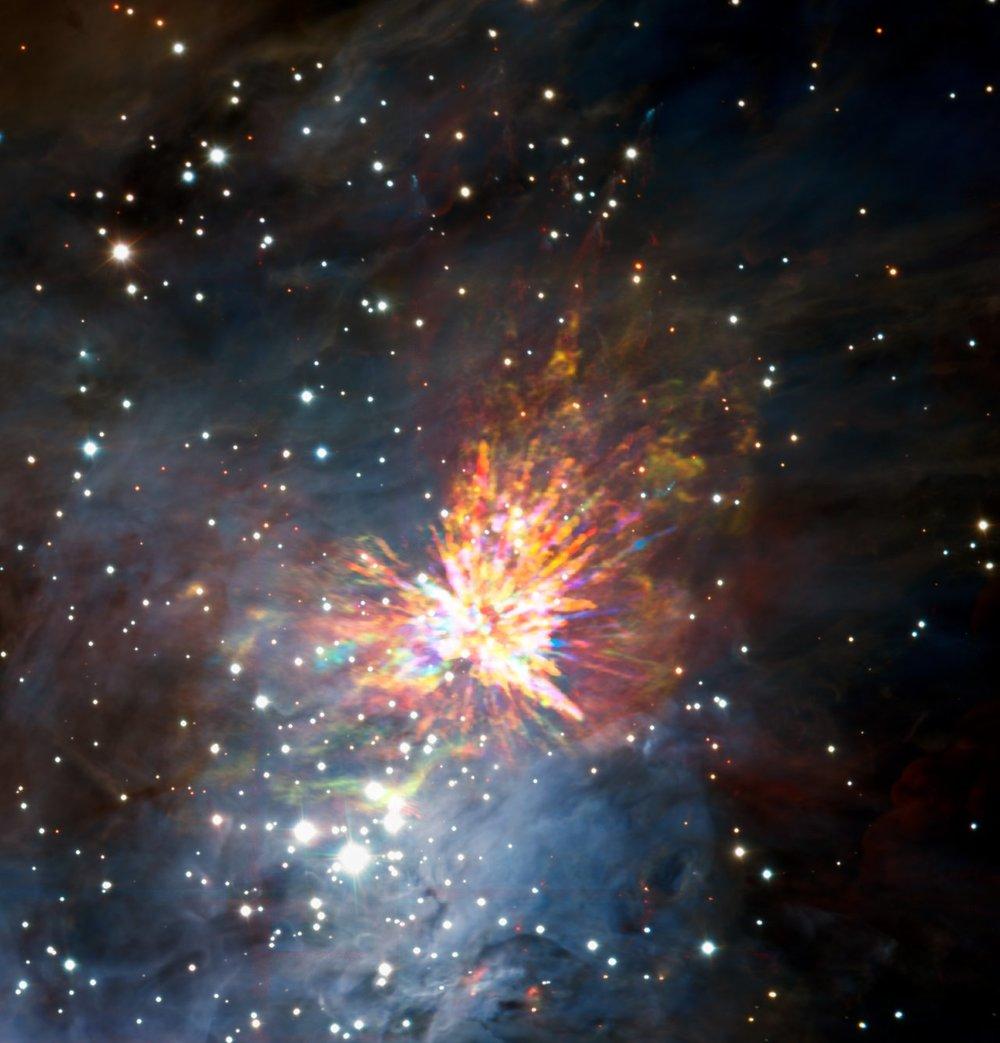 ALMA views a stellar explosion in Orion - Image Credit: ALMA (ESO/NAOJ/NRAO), J. Bally/H. Drass et al.