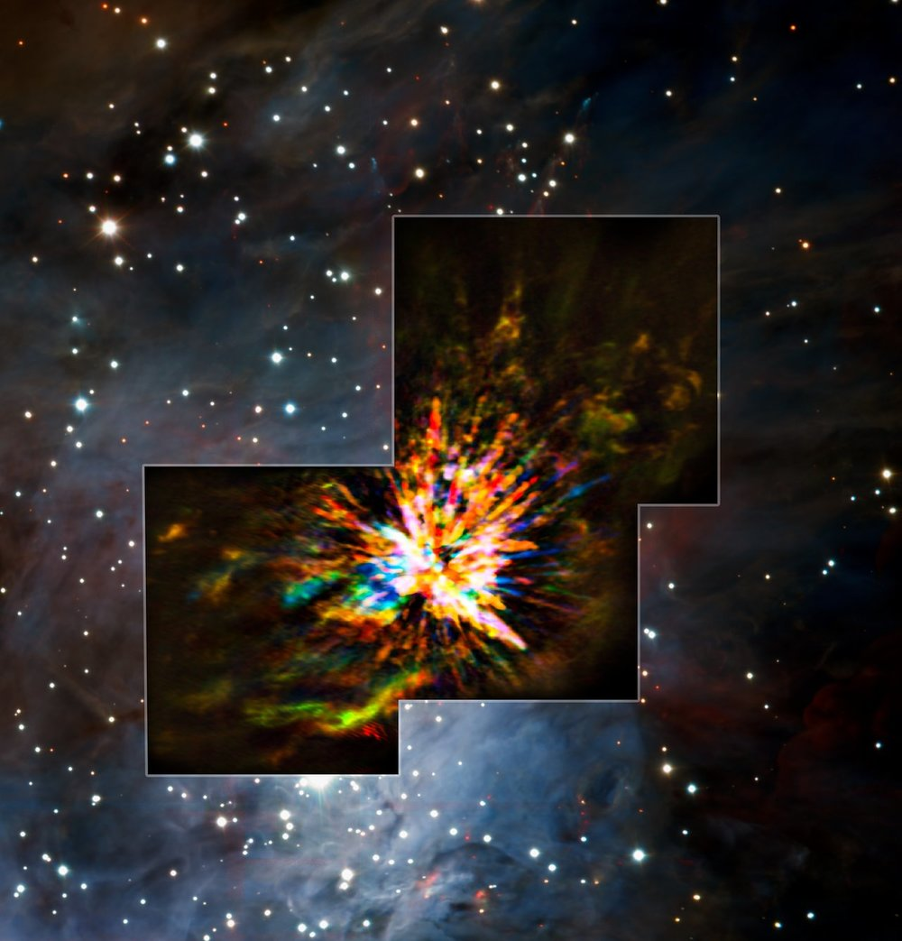 ALMA and VLT views of an explosion in Orion -Image Credit:ALMA (ESO/NAOJ/NRAO), J. Bally/H. Drass et al.