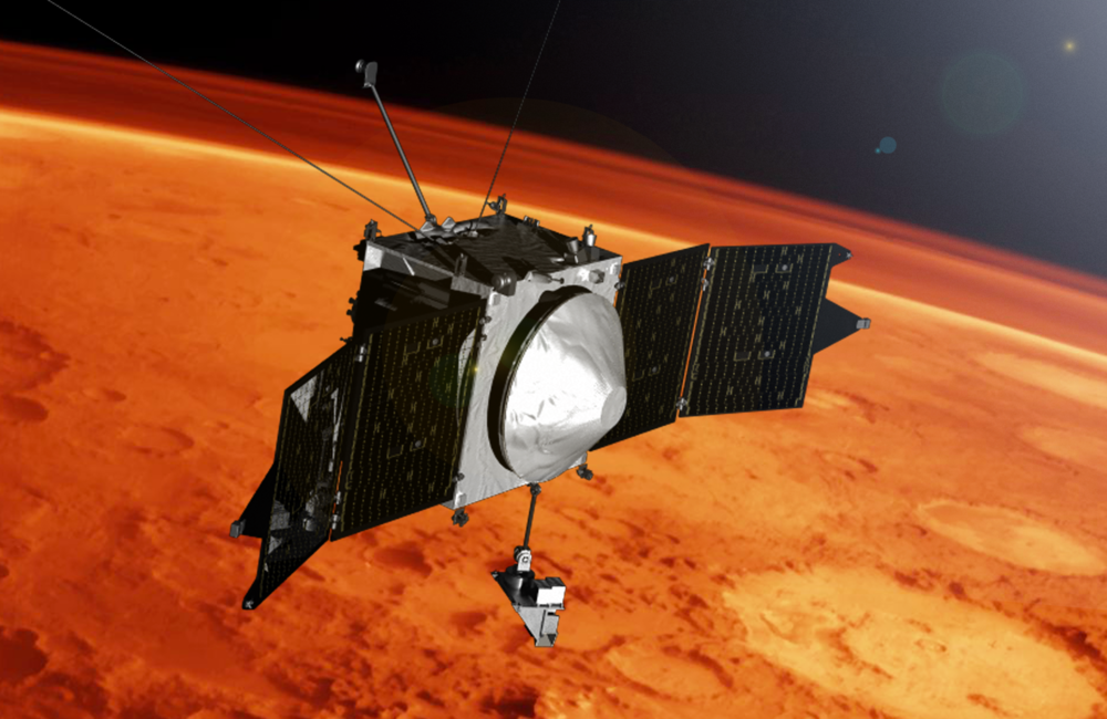 This artist concept shows the MAVEN spacecraft and the limb of Mars.- Image Credit: NASA's Goddard Space Flight Center