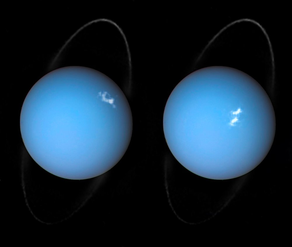 This is a composite image of Uranus by Voyager 2 and two different observations made by Hubble — one for the ring and one for the auroras. These auroras occurred in the planet's southern latitudes near the planet's south magnetic pole. Like Jupiter and Saturn, hydrogen atoms excited by blasts of the solar wind are the cause for the glowing white patches seen in both photos. - Image Credit: NASA/ESA