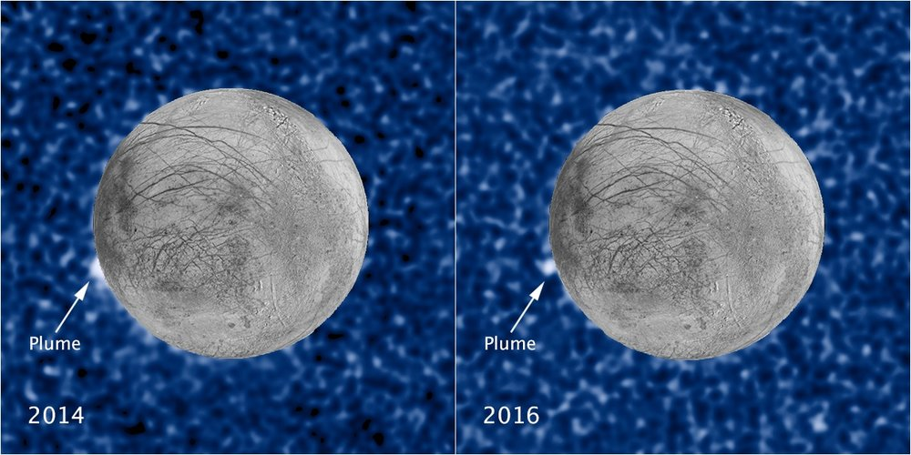 These composite images show a suspected plume of material erupting two years apart from the same location on Jupiter's icy moon Europa. Both plumes, photographed in UV light by Hubble, were seen in silhouette as the moon passed in front of Jupiter. - Image Credits: NASA/ESA/STScI/USGS (click on image to enlarge)