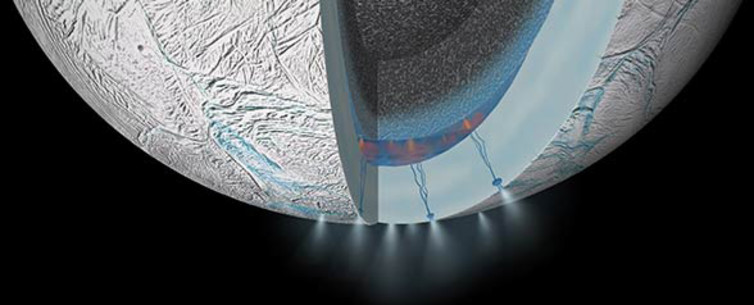 Cutaway view inside Enceladus, showing where hot water and rock interact below the ice. - Image Credit: NASA/JPL