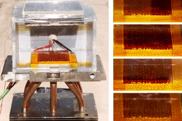 This proof-of-concept device, built at MIT, demonstrates a new system for extracting drinking water from the air. The sequence of images at right shows how droplets of water accumulate over time as the inside temperature increases while exposed to the sun. - Images courtesy of the researchers