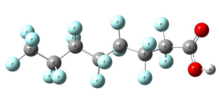 Perfluorooctanoic acid (PFOA), one of many PFAS molecules. - Image Credit: Jens Blotevogel,Author provided