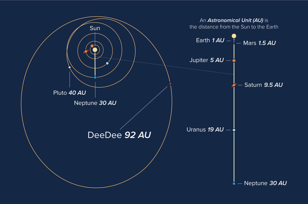 Orbits of objects in our solar system, showing the current location of the planetary body 'DeeDee'. - Image Credit: Alexandra Angelich (NRAO/AUI/NSF)