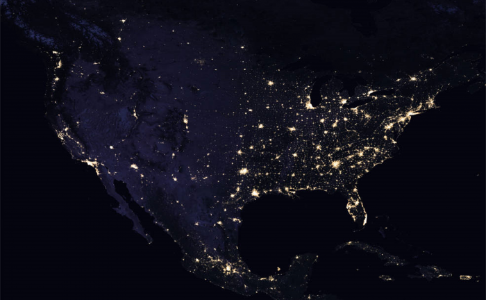 Composite image of continental U.S. at night, 2016. Credits: NASA Earth Observatory - images by Joshua Stevens, using Suomi NPP VIIRS data from Miguel Román, NASA's Goddard Space Flight Center