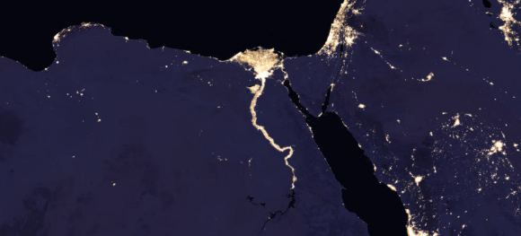 Composite image of Nile River and surrounding region at night, 2016. Credits: NASA Earth Observatory - Images by Joshua Stevens, using Suomi NPP VIIRS data from Miguel Román, NASA's Goddard Space Flight Center