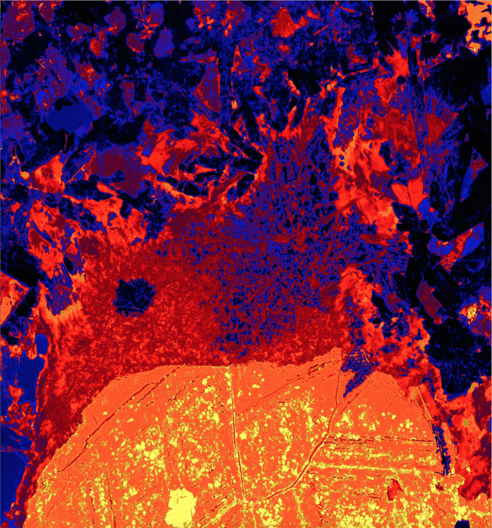 This x-ray image shows a sulfide blob and what remains of an attached gas bubble, frozen in ore. Iron concentration is represented from low to high by the colours black through to yellow/white. Data collected on the XFM beamline at the Australian Synchrotron, Victoria, Australia.Author provided