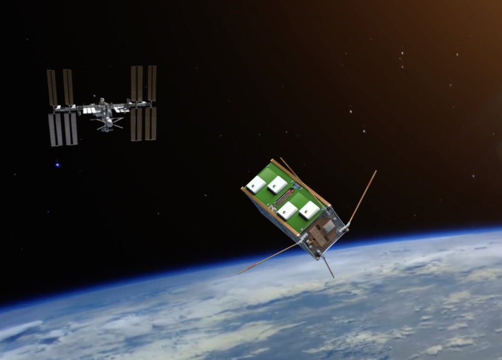 Artist's impression of UNSW-ECO leaving the International Space Station. UNSW, Author provided