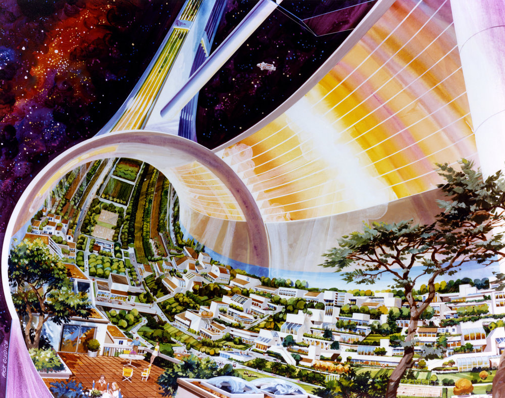 Three space colony summer studies were conducted at NASA Ames Research Center in the 1970s. A number of artistic renderings of the concepts were made, including this one showing a cutaway view of a fictional Toroidal (donut-shaped) Colony. Artwork: Rick Guidice. - Image Credits: NASA Ames Research Center (click to enlarge)