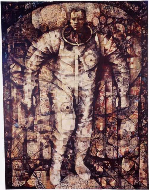 "The ""First Steps"" painting by Mitchell Jamieson, a former World War II Navy artist, captures the moment astronaut Gordon Cooper emerged from his Faith 7 spacecraft after his 22-orbit mission in 1963. Through paintings, Jamieson documented Cooper's return, from post-flight medical examinations to the journey back to Cape Canaveral. - Image Credits: Mitchell Jamieson/Courtesy of the Smithsonian National Air and Space Museum"