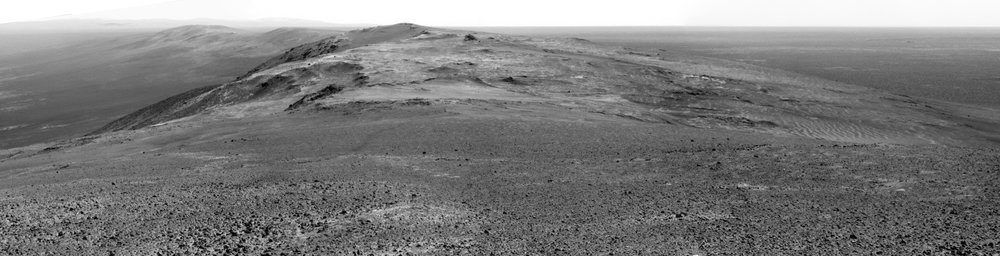 Sol 3906, January 19, 2015. Summit panorama from Cape Tribulation from the Opportunity Mars Rover. - Image Credit: NASA/Arizona State University.