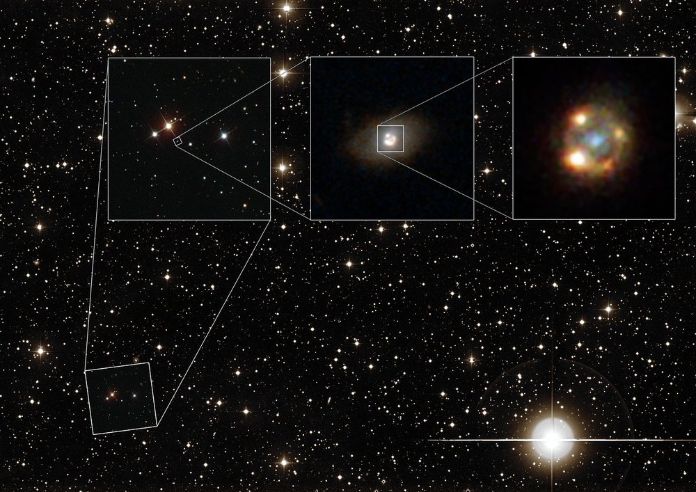 This composite image shows the gravitationally lensed type Ia supernova iPTF16geu, as seen with different telescopes. The background image shows a wide-field view of the night sky as seen with the Palomar Observatory located on Palomar Mountain, California. The leftmost image shows observations made with the Sloan Digital Sky Survey (SDSS). The central image was taken by the NASA/ESA Hubble Space Telescope and shows the lensing galaxy SDSS J210415.89-062024.7. The rightmost image was also taken with Hubble and depicts the four lensed images of the supernova explosion, surrounding the lensing galaxy. - Image Credit:   ESA/Hubble, NASA, Sloan Digital Sky Survey, Palomar Observatory/California Institute of Technology