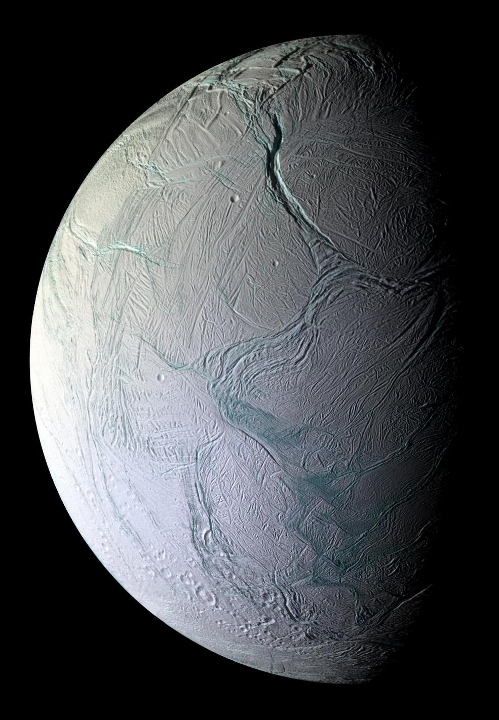 Enceladus, just 500km across, is now known to host a buried ocean of liquid water. - Image Credit: NASA/JPL/Space Science Institute