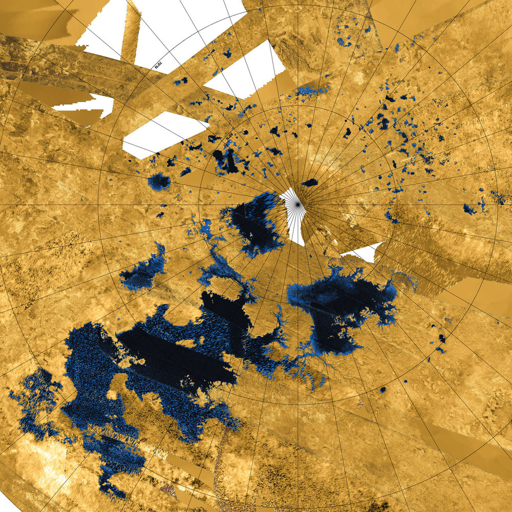 Lakes, seas, and rivers of methane and ethane on the surface of Saturn's largest moon, Titan. - Image Credit: NASA/JPL-Caltech/Agenzia Spaziale Italiana/USGS