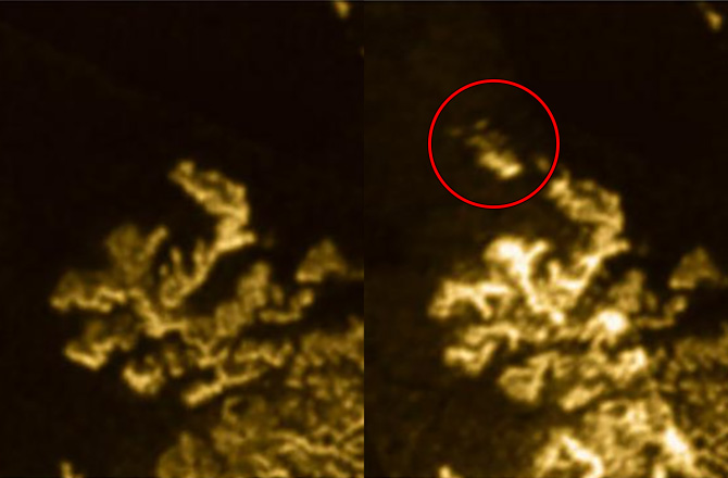 "The appearing and disappearing feature observed in Titan's Lakes was dubbed ""Magic Island"". - Image Credit: NASA/JPL-Caltech/ASI/Cornell"