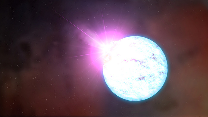 Artist's rendering of an outburst on an ultra-magnetic neutron star, also called a magnetar. - Image Credit: NASA/Goddard Space Flight Center