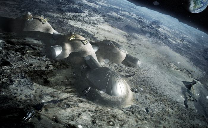 Multi-dome lunar base being constructed, based on the 3D printing concept. Once assembled, the inflated domes are covered with a layer of 3D-printed lunar regolith by robots to help protect the occupants against space radiation and micrometeoroids. - Image Credits: ESA/Foster + Partners