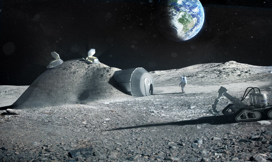 Artist's impression of a lunar base created with 3-d printing techniques. - Image Credits: ESA/Foster + Partners