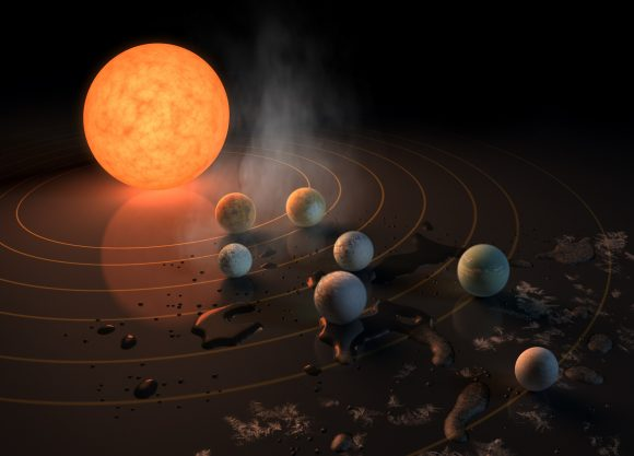 Artist's concept of the TRAPPIST-1 star system, an ultra-cool dwarf that has seven Earth-size planets orbiting it. We're going to keep finding more and more solar systems like this, but we need observatories like WFIRST to understand the planets better. - Image Credits: NASA/JPL-Caltech