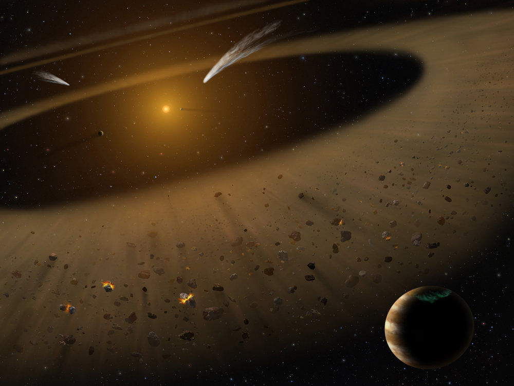 Artist's illustration of the Epsilon Eridani system showing Epsilon Eridani b. In the right foreground, a Jupiter-mass planet is shown orbiting its parent star at the outside edge of an asteroid belt. In the background can be seen another narrow asteroid or comet belt plus an outermost belt similar in size to our solar system's Kuiper Belt. The similarity of the structure of the Epsilon Eridani system to our solar system is remarkable, although Epsilon Eridani is much younger than our sun. SOFIA observations confirmed the existence of the asteroid belt adjacent to the orbit of the Jovian planet. - Image Credits: NASA/SOFIA/Lynette Cook