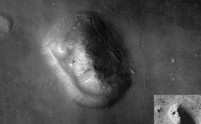 "Image of the ""Face of Mars"" by the Mars Reconnaissance Orbiter, with the Viking 1 image inset (bottom right). Credit: NASA/JPL"
