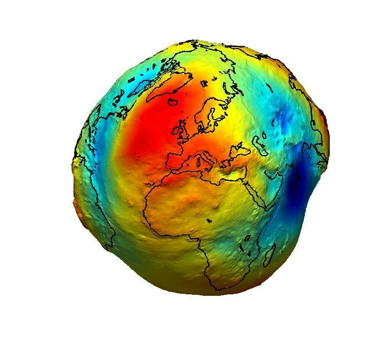 The geoid is the surface of equal gravitational potential of a hypothetical ocean at rest and serves as the classical reference for all topographical features. - Image Credit: ESA