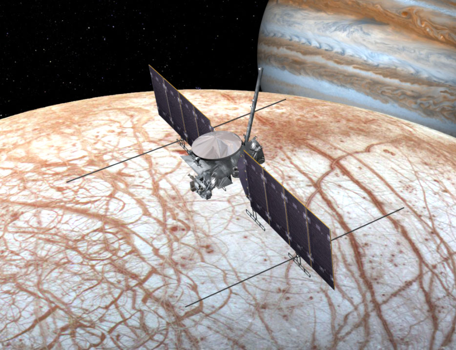 This artist's rendering shows NASA's Europa mission spacecraft, which will search for life on Europa beginning sometime in the 2020s. - Image Credit: NASA/JPL-Caltech