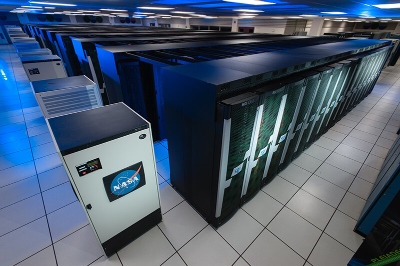 The addition of Haswell processors in 2015 increased the theoretical peak processing capability of Pleiades from 4.5 petaflops to 5.3 petaflops. Credit: NASA