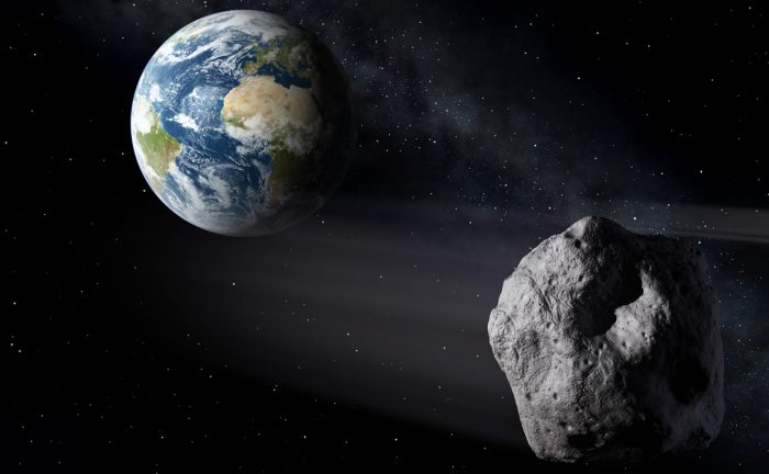 An artist's conception of an asteroid passing near the Earth. NASA is getting better at spotting them and giving us advance warning of their approach. - Image credit: ESA.
