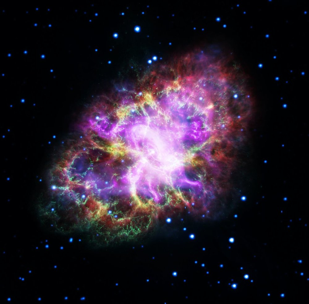 Astronomers have produced a highly detailed image of the Crab Nebula, by combining data from five telescopes, spanning nearly the entire breadth of the electromagnetic spectrum. - Image Credit: NASA, ESA, G. Dubner (IAFE, CONICET-University of Buenos Aires) et al.; A. Loll et al.; T. Temim et al.; F. Seward et al.; VLA/NRAO/AUI/NSF; Chandra/CXC; Spitzer/JPL-Caltech; XMM-Newton/ESA; and Hubble/STScI