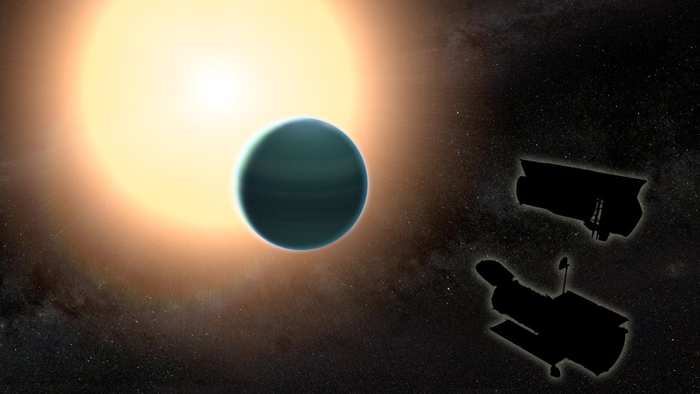 "The atmosphere of the distant ""warm Neptune"" HAT-P-26b, illustrated here, is unexpectedly primitive, composed primarily of hydrogen and helium. By combining observations from NASA's Hubble and Spitzer space telescopes, researchers determined that, unlike Neptune and Uranus, the exoplanet has relatively low metallicity, an indication of the how rich the planet is in all elements heavier than hydrogen and helium. - Image Credits: NASA/GSFC"