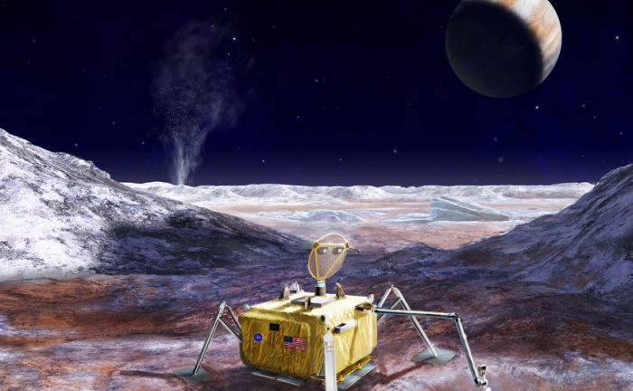 Artist's rendering of a possible Europa Lander mission, which would explore the surface of the icy moon in the coming decades. - Image Credit:: NASA/JPL-Caltech