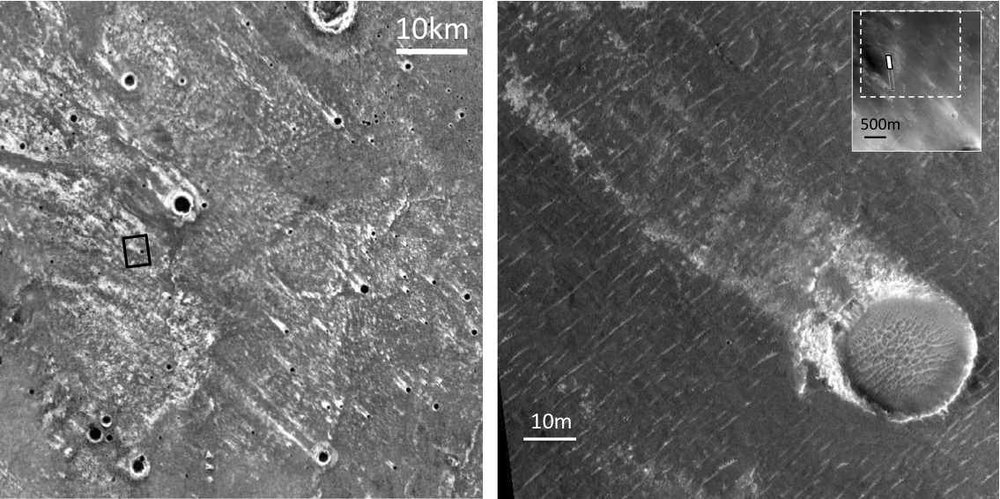 IR images showing the correlation between the streaks and smaller craters that were in place when the larger crater was formed. - Image Credit: NASA/JPL-Caltech/Arizona State University
