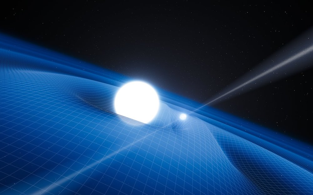Artist's impression of the exotic double object that consists of a tiny neutron star orbited every two and a half hours by a white dwarf star. - Image Credit: ESO/L. Calçada